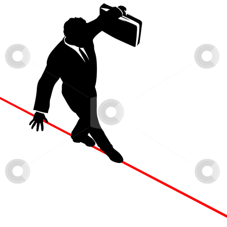 Business Man Balance Risk Tightrope from Above stock vector clipart, A business man walks a high wire tightrope, above risk and danger, the businessman balances with a briefcase. by Michael Brown