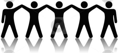 Group of People Celebrate Teamwork stock vector clipart, A team or group of five people with hands raised celebrate cooperation, teamwork, victory, winning, etc. by Michael Brown