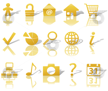 Web Gold Icons Set Shadows & Relections on White 1 stock vector clipart, Gold Icon Symbol Set: Globe Security Question Email People, etc. On white with shadows & reflections. by Michael Brown