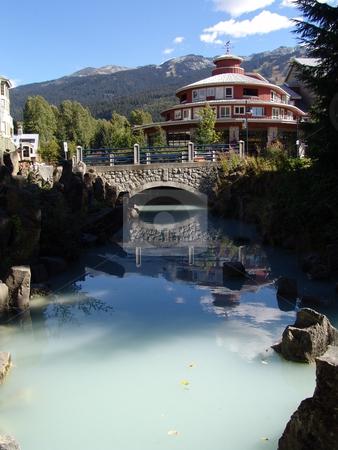 Whistler Village stock photo, A pool reflecting a building at Whistler Village BC. by Steve Stedman