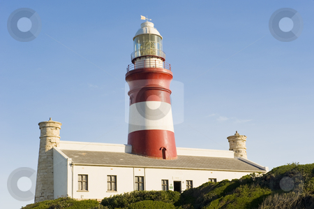 Beautiful historical lighthouse on the Southern-most tip of Afri stock photo, The second oldest and Southern-most lighthouse in Africa at Cape Aghullas, built in 1848. by Nicolaas Traut