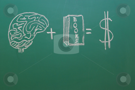 Chalkboard stock photo, A chalkboard with the concept of education equals money. by Robert Byron