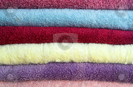 Towels stock photo, A stack of freshly laundered towels. by Robert Byron