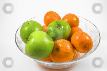 Apples and Oranges stock photo, A bowl of delicious apples and oranges. by Robert Byron