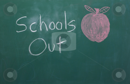School's Out stock photo, A chalkbor with School's Out written on it. by Robert Byron