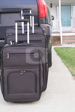 Suitcases stock photo, Various bags and suitcases ready for travel or vacation. by Robert Byron
