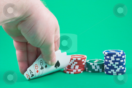 Dead Man's Hand stock photo, Dead man's hand - aces and eights. by Robert Byron