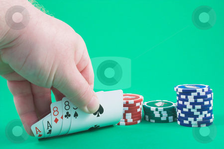 Dead Man's Hand stock photo, Aces and eights - the dead man's hand. by Robert Byron