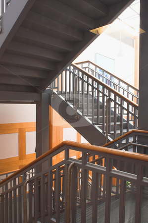 Interior Stairs stock photo, A stairwell in the interior of an office building. by Robert Byron