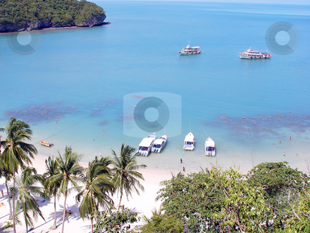 Exotic beach stock photo, Exotic tropical beach with palm trees boats and tourists swimming at koh samui national water park thailand by EVANGELOS THOMAIDIS