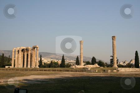 Olympic zeus temple stock photo, General view of temple of the olympic zeus pilars landmarks of athens greece horizontal shut by EVANGELOS THOMAIDIS