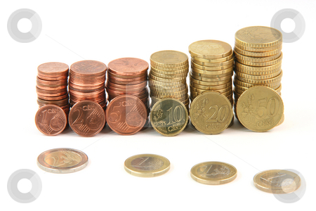 Piles of euro coins stock photo, Piles of euro coins isolated on white background money and finance concepts by EVANGELOS THOMAIDIS
