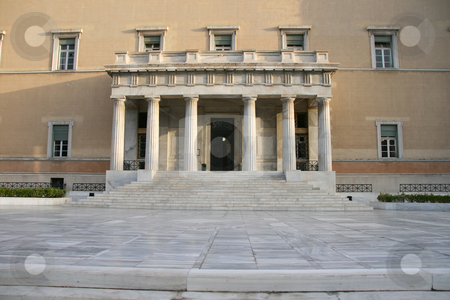 Entrance of parliament horizontal stock photo, Horizontal shut of the greek parliament main entrance athens greece by EVANGELOS THOMAIDIS