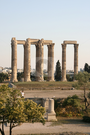 Temple of zeus stock photo, Temple of olympic zeus pilars landmarks of athens greece vertical shut by EVANGELOS THOMAIDIS