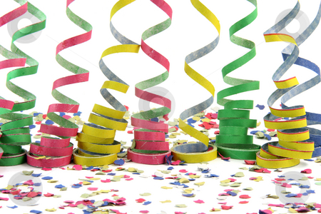 Steamers over comfetti stock photo, Streamers over comfetti isolated on white background celebration and holiday concepts by EVANGELOS THOMAIDIS