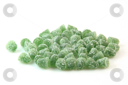 Jelly mints stock photo, Green sugar jelly mints isolated on white background sweets and candy by EVANGELOS THOMAIDIS