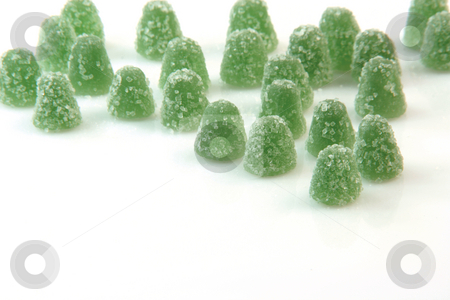 Green candy stock photo, Green sugar jelly mints isolated on white background sweets and candy with copy space by EVANGELOS THOMAIDIS