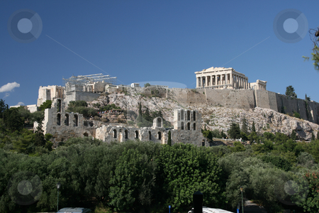 The rock of parthenon stock photo, The rock of parthenon and herodion theatre landmarks of athens greece by EVANGELOS THOMAIDIS