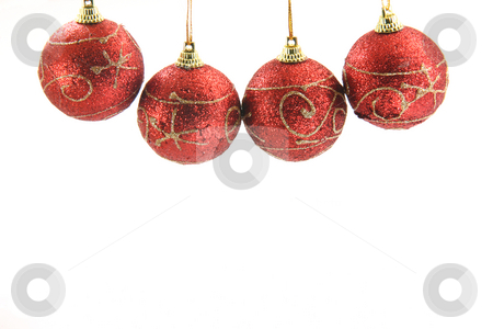 Red xmas balls stock photo, Four red christmas decoration balls hanging isolated on white background front view by EVANGELOS THOMAIDIS