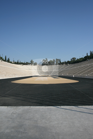 Vertical stadium  stock photo, Kalimarmaro stadium in athens greece the stadium where the first new olympic games started by EVANGELOS THOMAIDIS