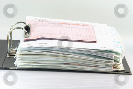 Open folder stock photo, Open archive business folder with bider full of documents by EVANGELOS THOMAIDIS
