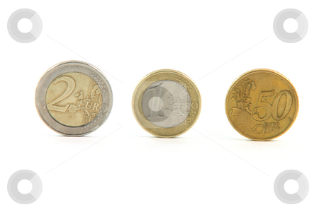 Three euro coins stock photo, Three euro coins isolated on white background money and finance concepts by EVANGELOS THOMAIDIS