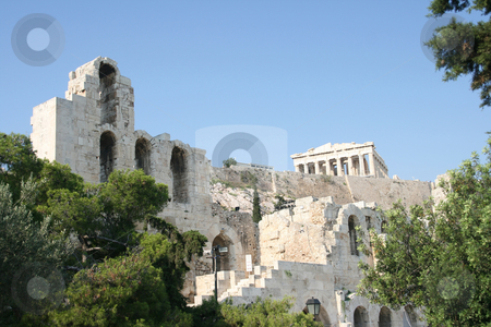 Herodion parthenon stock photo, Herodion theatre and parthenon athens greece landmarks by EVANGELOS THOMAIDIS