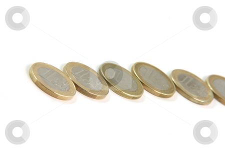 One euro line stock photo, One eurocoins line isolated on white background money and finance concepts by EVANGELOS THOMAIDIS