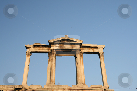 Arch detail stock photo, Detail from the uper side of hadrians arch landmarks of athens greece by EVANGELOS THOMAIDIS