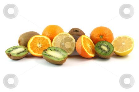 Healthy fruits stock photo, Fruits and agriculture oranges lemons and kiwi isolated on white background by EVANGELOS THOMAIDIS