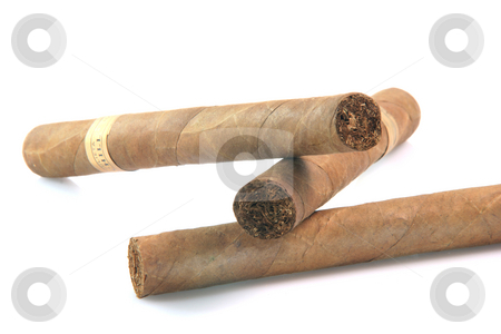 Closeup three cigars stock photo, Closeup three large cuban cigars isolated on white background luxury and abuse concepts by EVANGELOS THOMAIDIS