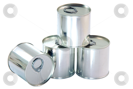 Aluminium cans stock photo, Tin can aluminium packaging industry isolated on white background with clipping path by EVANGELOS THOMAIDIS