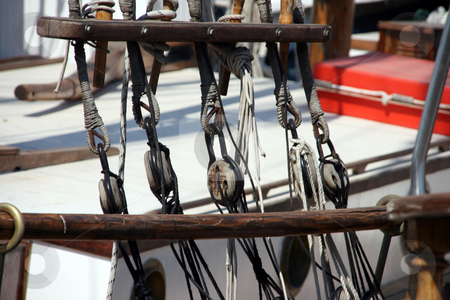 Sail ropes stock photo, Sail ropes detail from antique sail yacht by EVANGELOS THOMAIDIS