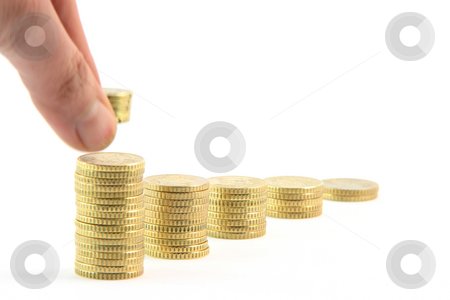 Motion savings stock photo, Adding to stacks of fifty euro cents in a row isolated on white background business and finance concepts by EVANGELOS THOMAIDIS