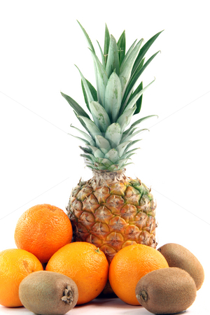 Ananas vertical stock photo, Fruits oranges kiwi and ananas isolated on white background agriculture and healthy eating by EVANGELOS THOMAIDIS
