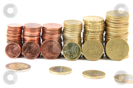 Eurocoins piles stock photo, Piles of euro coins isolated on white background money and finance concepts by EVANGELOS THOMAIDIS
