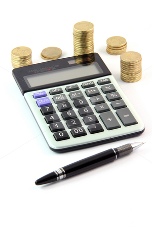 Calculator and money stock photo, Calculator pen and money isolated on white background business and finance concepts by EVANGELOS THOMAIDIS