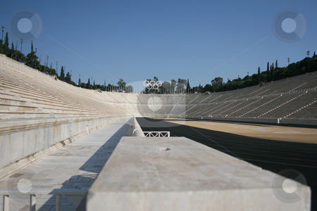 Perspective stadium view stock photo, Kalimarmaro stadium in athens greece the stadium where the first new olympic games started by EVANGELOS THOMAIDIS