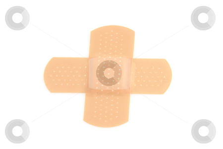 Bandages cross shape stock photo, Cross shape bandages isolated on white background health concepts by EVANGELOS THOMAIDIS