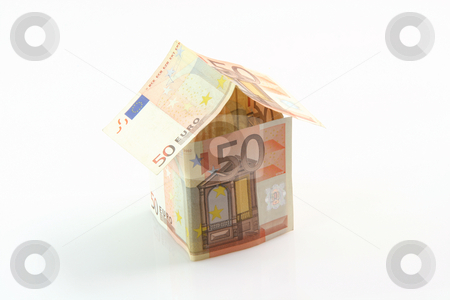 Euro made house stock photo, Finance banking constuction and business concepts house made with euro money  isolated on white background by EVANGELOS THOMAIDIS