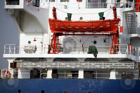 Cargo ship detail stock photo, Old cargo ship detail life boat shipping industry by EVANGELOS THOMAIDIS