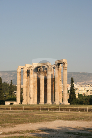 Temple of zeus vertical stock photo, Temple of olympic zeus pilars landmarks of athens greece vertical shut by EVANGELOS THOMAIDIS