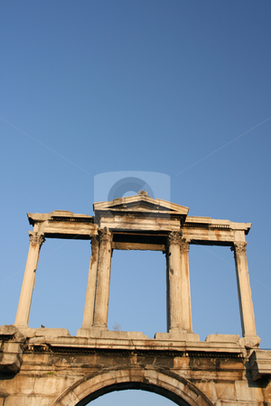 Hadrian arch stock photo, Handrian arch landmarks of athens greece detail uper side in total blue sky background by EVANGELOS THOMAIDIS