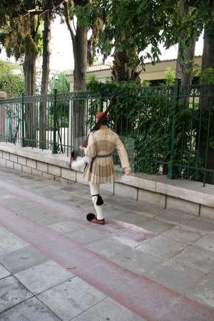 Guard of honor stock photo, Greek traditional guard of honor tsolias walking by EVANGELOS THOMAIDIS