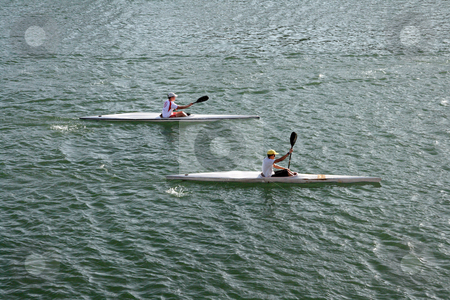 Canoe practice stock photo, Two boys doing conoe practice sport and athletes concepts by EVANGELOS THOMAIDIS