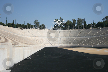 Track lanes stock photo, Kalimarmaro stadium in athens greece the stadium where the first new olympic games started by EVANGELOS THOMAIDIS