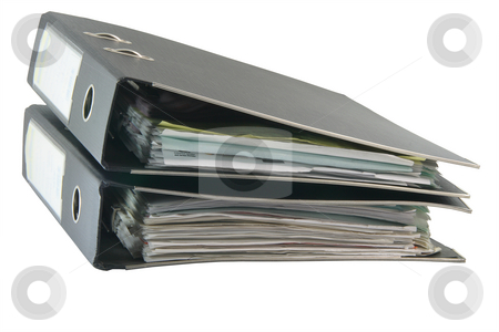 Two folders with path stock photo, Two black archive business folders with clipping path isolated on white background by EVANGELOS THOMAIDIS