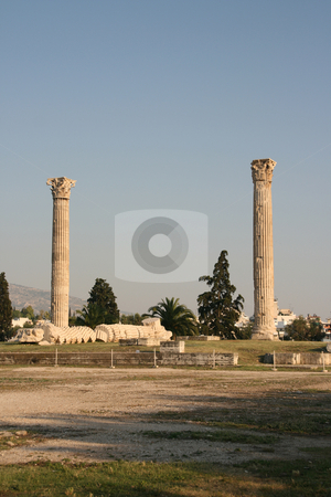 Zeus temple stock photo, Pilars of olympic zeus landmarks of athens greece verical shut detail by EVANGELOS THOMAIDIS