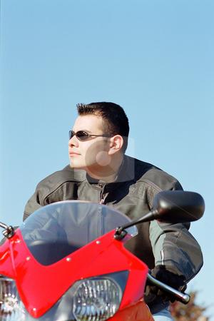 MPIXIS550179 stock photo, Man on motor bike by Mpixis World