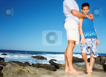 MPIXIS550160 stock photo, Adult with boy by the sea by Mpixis World